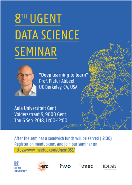 8th UGent Data Science Seminar with Prof. Pieter Abbeel