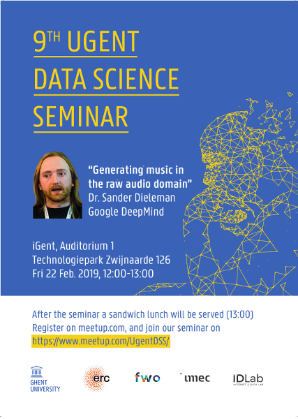9th UGent Data Science Seminar with Dr. Sander Dieleman